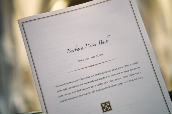 Detailed view of a program during the funeral for former First Lady Barbara Bush at St. Martin's Episcopal Church in Houston